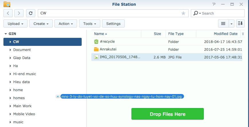 Dễ dàng upload dữ liệu, chỉ việc kéo và thả với Synology NAS File Station