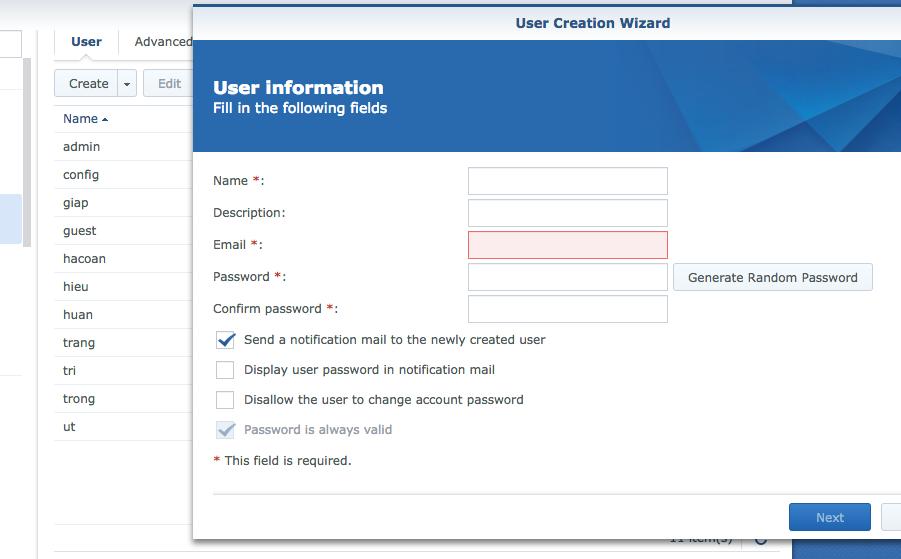 Dễ dàng tạo user cho từng người truy cập