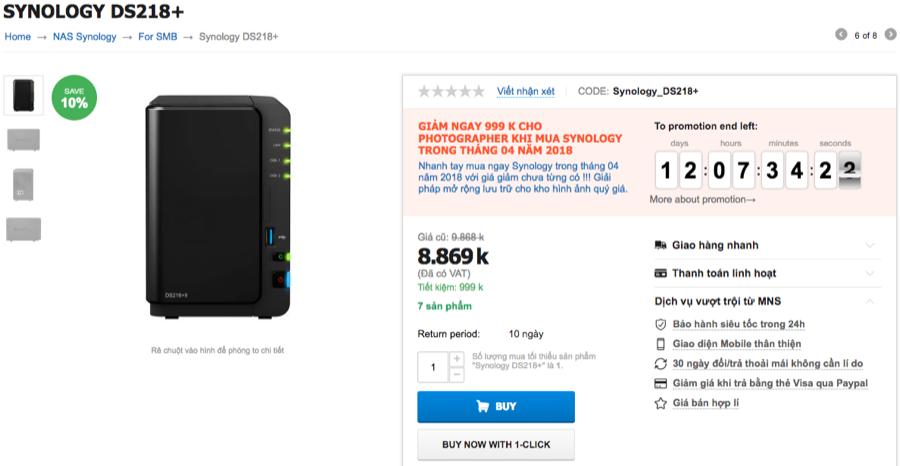 DS218+ đang có sẵn hàng tại MNS và có thể giao hàng ngay